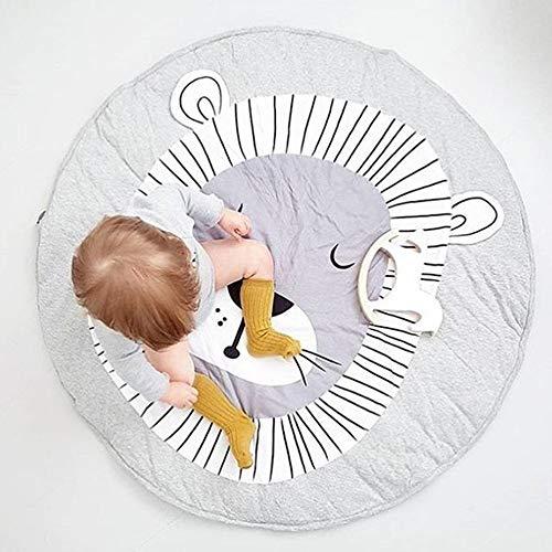 90CM Kids Play Game Mats Round Carpet Rugs Cotton Animals Play Mat Newborn Infant Crawling Blanket Floor Carpet Baby Room Decor White Grey (Lion, Diameter 90cm) For Sale