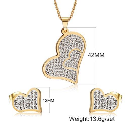 Fashion Jewelry Set Stainless Steel Rhinestone Love Heart Shape Pendant Necklace Ear Stud,Gold