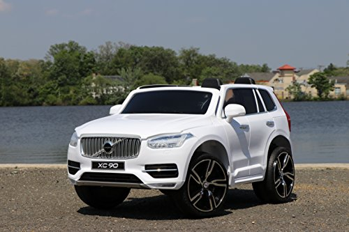 First Drive Volvo XC90 White 12v Kids Cars - Dual Motor Electric Power Ride On Car with Remote, MP3, Aux Cord, Led Headlights, and Premium Wheels (Kids Drive)