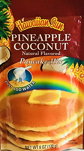 Hawaiian Natural Flavored Pancake Mix! Choose From Macadamia Nut Flavors! Just Add Water! 6oz Package! (Pineapple Coconut) ()