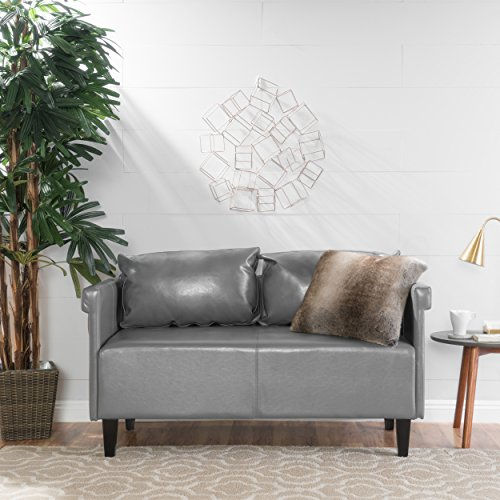 Harbison Grey Leather Settee