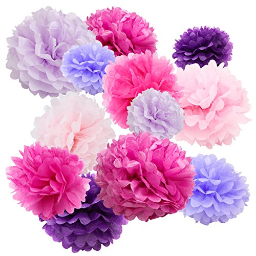 Floral Reef Variety Set of 12 (Assorted Pink Lavender Purple Berry Color Pack) consisting of 8 10 12 14 16 Tissue Paper Pom Poms Flower