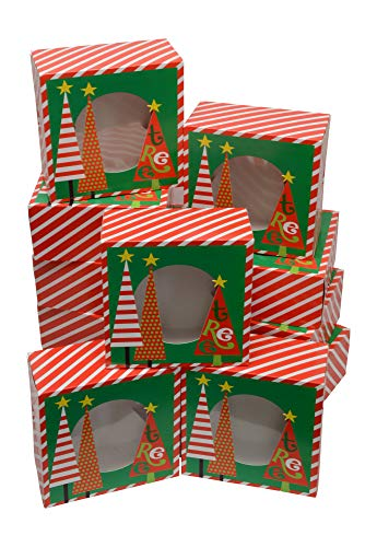 Christmas Cookie gift boxes, fold-able with holiday designs, set of 12 boxes (Trees & Stripes)