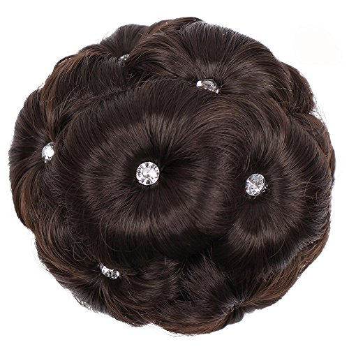 FORUU Wigs, 2019 Valentine's Day Surprise Best Gift For Girlfriend Lover Wife Party Under 5 Free delivery Female Wig Hair Ring Curly Bride Makeup Diamond Bun Flowers Chignon Hairpiece ()