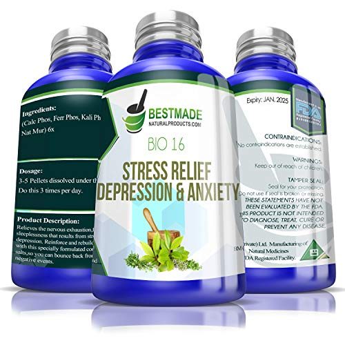 Stress Relief, Depression & Anxiety Bio16, 300 pellets, Effective Relief from Symptoms of Nervous Exhaustion and Fatigue, Helps with Weak Stomach or Nervous System and Relieves Sleeplessness