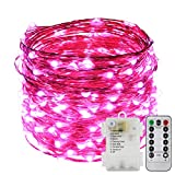 ER CHEN 8 Lighting Model Indoor and Outdoor Waterproof Battery Operated 200 LED String Lights on 66 Ft Long Ultra Thin Copper String Wire with 13 Key Remote Control(Pink)