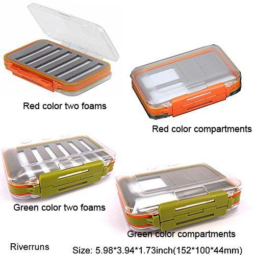 Waterproof Pocket Fly Fishing 2 colors Box Foam Fishing Flies Lures Boxes Two side EVA foams or one side foam and the other magnetic compartments (Green color two foams) (Slit Foam)