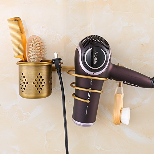 (OLQMY-The Bathroom Wall Storage Tube Frame, Imitation Copper Patina Hairdryer Frame, A Multifunctional Hanging Hair Dryer)