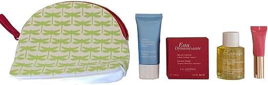 Clarins Estuche de regalo y bolsa de viaje (aceite tónico para el tratamiento del cuerpo, crema hidratante, jabón de crema eau dynamisantey perfector de labios): Amazon.es: Belleza