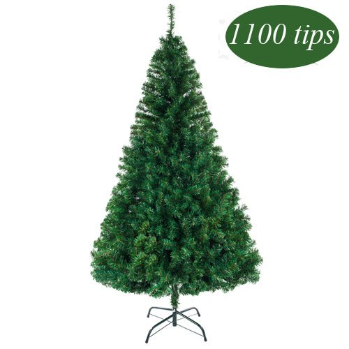 Bonnlo 7' Feet Unlit Artificial Christmas Pine Tree with Sturdy Mental legs, Full 1100 Tips Branch for Indoor and Outdoor, Green (Unlit Slim Christmas Trees Artificial)