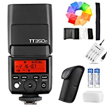 Godox TT350F 2.4G HSS 1/8000s TTL GN36 Camera Flash Speedlite for Fuji Cameras X-Pro2 X-T20 X-T2 X-T1 X-Pro1 X-T10 X-E1 X-A3 X100F X100T with 2400mAh Batteries Charger and Color Filters