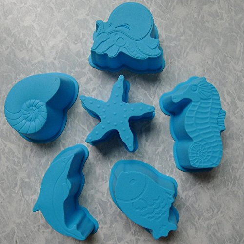 Ocean Animal Silicone Cake Mold /Jelly mold /Pudding mold /Ice cream Chocolate Mold 1set/6PCS