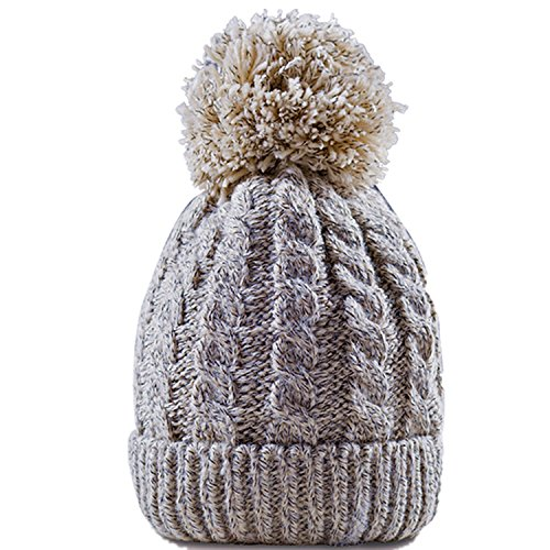 Women's Winter Beanie With Warm Lining - Thick Slouchy Cable Knit Skull Hat Pom Pom Ski Cap In 7 Colors (Cream) (Double Layer Beanie)