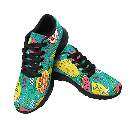 Interestprint Mujeres Footing Running Sneaker Ligero Go Easy Walking Comfort Deportes Zapatos Deportivos Bright Summer Fruit Sandía, Kiwi, Apple
