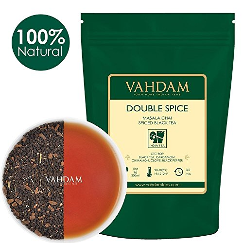 Double Spice Masala Chai Tea (100 Cups), STRONG & SPICY, 100% Natural Ingredients, Black Tea, Cardamom, Cinnamon, Cloves, Black Pepper, Brews Chai Latte, Blended & Packed at Source in India, ()