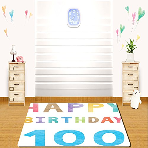 HAIXIA rugs 100th Birthday Decorations Old Grandparents Birthday Worn Abstract Vintage Wish Party Image