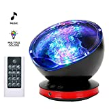 [UPGRATED] Ocean Wave Projector, GRDE Kids Night Light Projector, Sleep Aid Machine with Romte & Built-in Music Player [8 Lighting Modes, 6 Sleeping Music] for Infant Children Adult, Nursery Room Decor for Living Room and Bedroom - Black