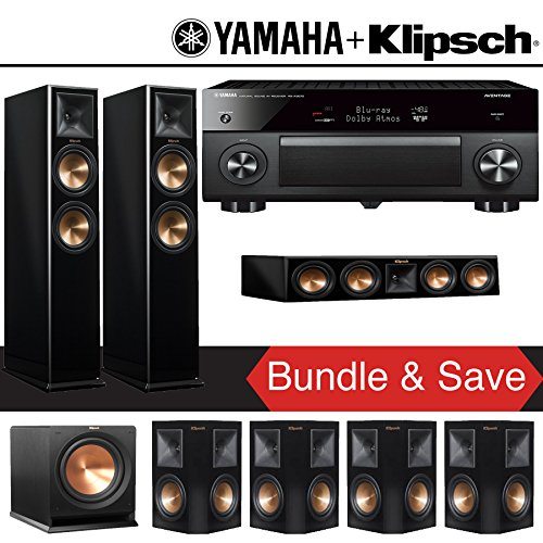Klipsch RP-260F 7.1-Ch Reference Premiere Home Theater System (Piano Black) with Yamaha AVENTAGE RX-A3070BL 11.2-Channel Network A/V Receiver