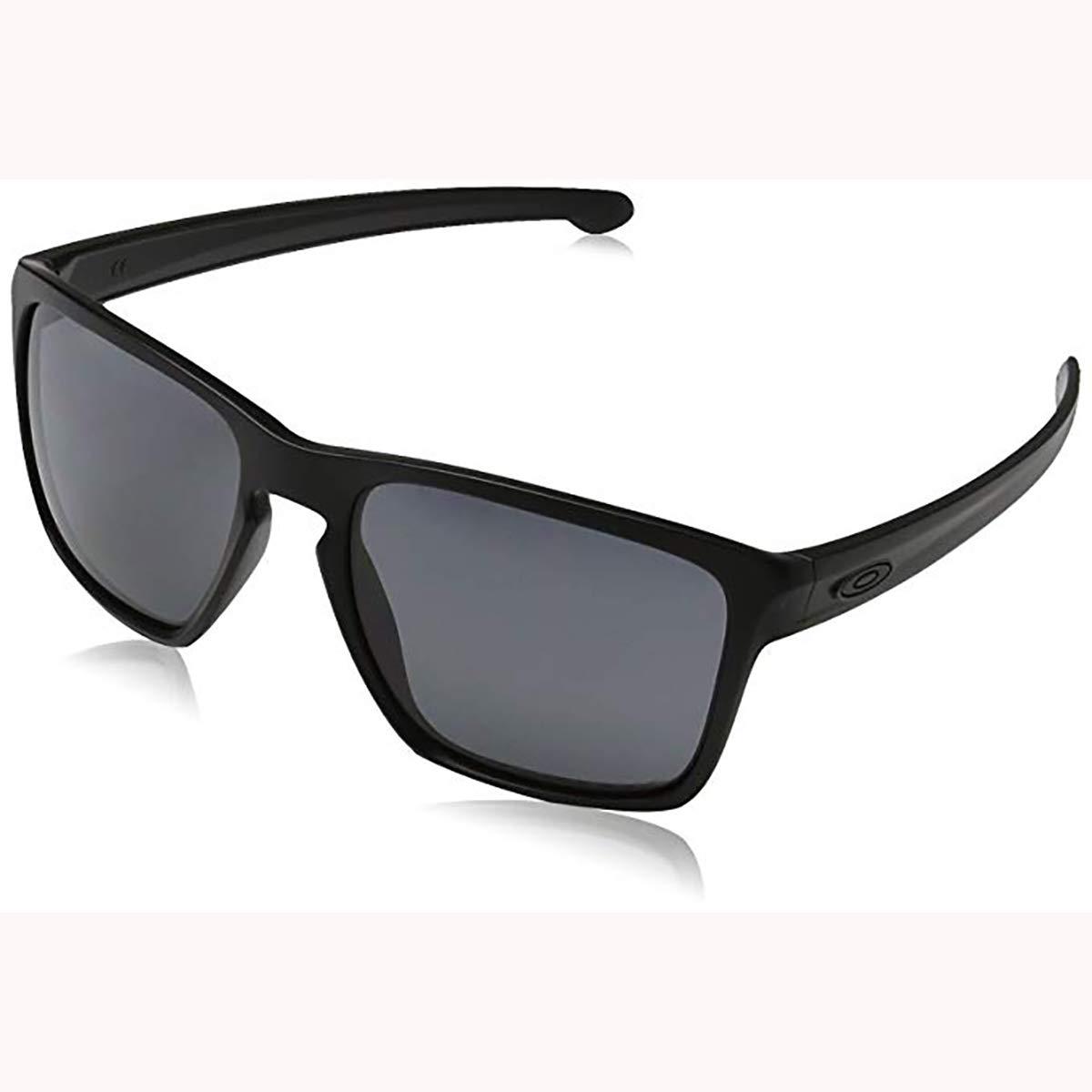 Oakley Men's OO9341 Sliver XL Rectangular Sunglasses, Matte Black/Grey Polarized, 57 mm by Oakley