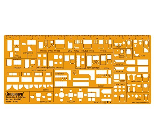 Interior Design Kitchen Template Sanitary Drafting Stencil Templates Scale 1:100 by LINOGRAPH