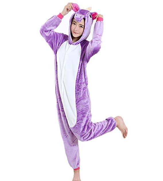 WRH Dibujos animados adultos una sola pieza pijamas Pegaso unicornio amantes de los animales caseros usan