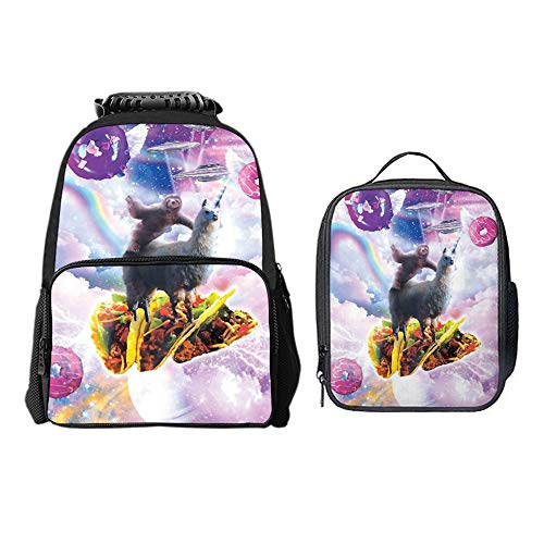 (SARA NELL Sloth Llama Ride Taco With Ufo Donuts 2 Pcs Children School Backpack Set Elementary Primary Bookbag and Lunch Bag Set for Girls Boys)