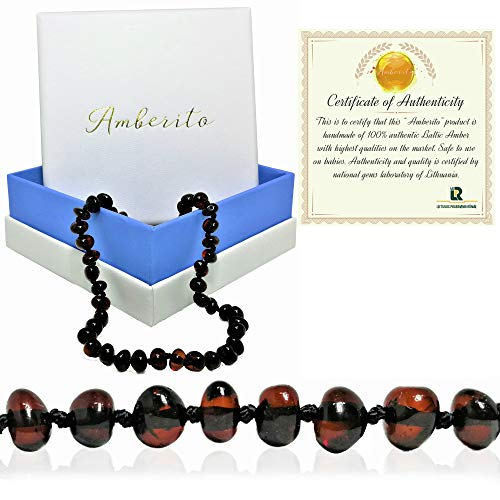 (Amberito Baltic Amber Teething Necklace for Babies (Cherry) Natural Anti-Inflammatory Amber Beads| Holistic Jewelry and Drooling Support | Quick Fasten Easy-Clasp | for Baby, Toddler Girl and Boys)