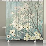 Crystal Emotion Flowering Dogwood Blossoms Shower Curtain 72x78inch