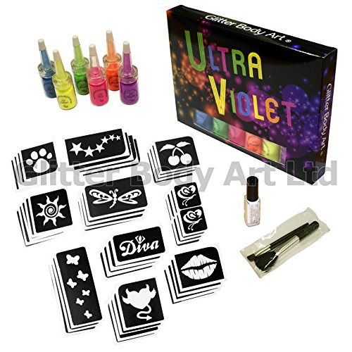 UV Glitter Tattoo Kit - GLOWS UNDER UV LIGHTING Glitter Body Art Ltd