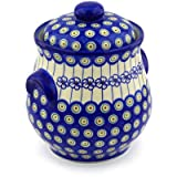 Polish Pottery Jar with Lid and Handles 9-inch Flowering Peacock