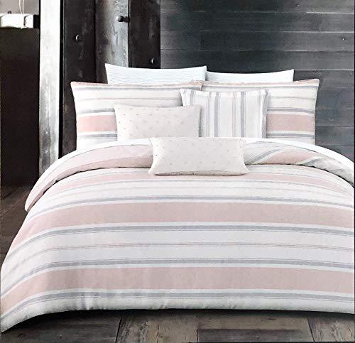 Tahari Home Maison Bedding Retro Pattern with Horizontal Stripes in Gray Cream Salmon Pink - Spence Stripe Pink/Gray - Salmon Stripe