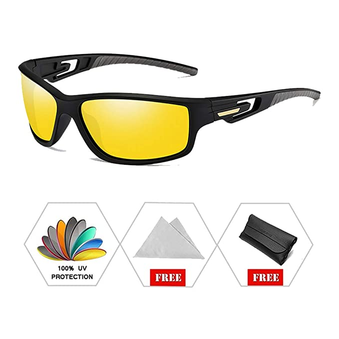 ATNKE Retro Sport Night Vision gafas de sol polarizadas para hombres mujeres con TR90 Frame Hollow