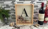 """Qualtry Personalized Wine Cork Shadow Box Display - Wall Mounted Monogram Wine Cork Holder for Wedding (11.25"""" x 9.25"""", Anderson Design)"""