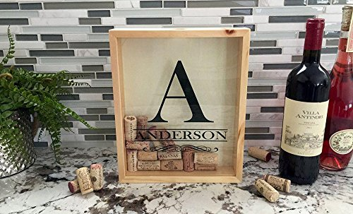 Qualtry Personalized Cork Shadow Box - Wine Cork Holder Display Great Wedding Gift (11.25
