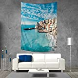 yoga italian charm - Anhuthree Italy Throw, Bed, Tapestry Yoga Blanket Panorama Old Italian Fishing Village Beach in Old Province Coastal Charm Image Wall Art Home Decor 70W x 93L INCH Turquoise