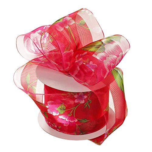 Sheer Red Floral Wired Ribbon - 1 1/2