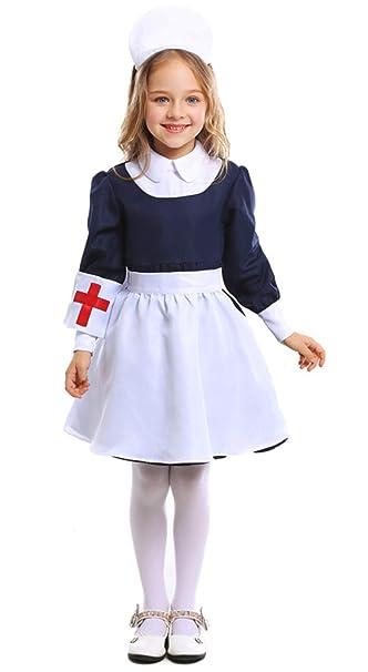 MOMBEBE COSLAND Niña Enfermera Disfraz Traje: Amazon.es ...