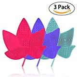 Makeup Brush Cleaning Mat, AHIW Silicone Brush Cleaner Pad Set, 3PCs Cosmetic Washing Tool Scrubber Suction Cup Kit Beauty with Handy Hook, Portable Drying Tower Plate- Maple Leaf Shape