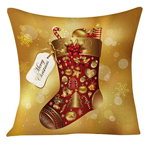 Challyhope Merry Christmas Xmas Socks Print Sofa Home Decoration Festival Pillow Case Cushion Cover (Multicolor A, 17.7 X 17.7