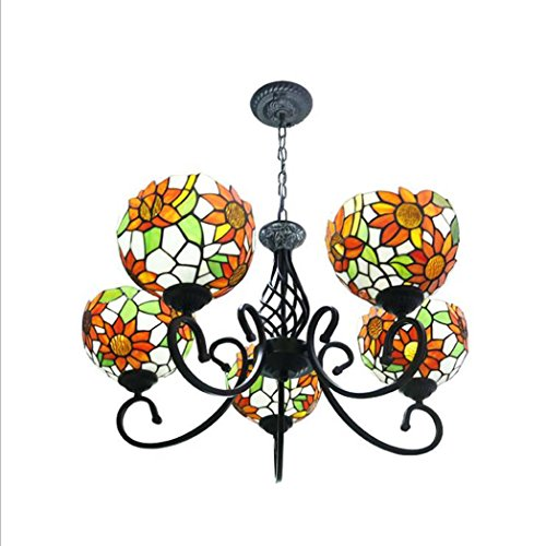 Glight Tiffany Style Chandelier, European Style 5 Heads Stained Glass Sunflower Design Pendant Lamp, Living Room Bedroom Restaurant Iron LED Pendant Lights E27 (Without Light Source)
