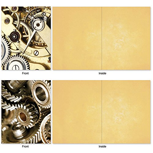 M2014 Gearing Up: 10 Assorted Blank All-Occasion Note Cards Feature Cogs, Gears and Other Things That Make Machines Tick, w/White Envelopes. Photo #2