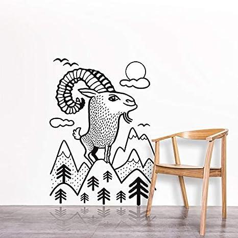 DIY cabra de montaña etiqueta de la pared Animal lindo vinilo ...