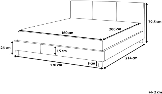 Piel cama blanco 160 x 200 cm Somier orelle: Beliani: Amazon ...