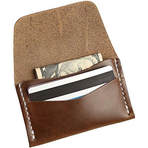 Faler Brand Minimalist Card Case - Minimalist Horween Leather Fold Credit Card Wallet (Natural CXL Horween)