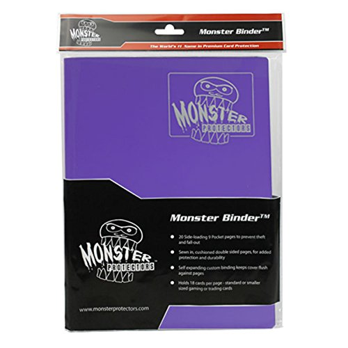 Monster Binder - 9 Pocket Trading Card Album - Matte Coral Purple - Holds 360 Yugioh, Magic, and Pokemon Cards by Monster Protectors