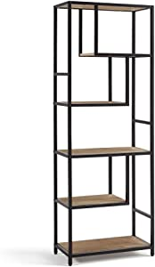Linsy Home 6-Tier Bookshelf, Open Back Shelf with Wood Look and Metal Frame, 66Inch in Height, Industrial StyleLS209P1-A
