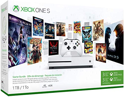 Microsoft Xbox One S 1TB/2TB Starter Bonus Bundle: Xbox Wireless Controller with 3 Month Game Pass, 3 Month Xbox Live Gold, Xbox One S 4K HDR Console – White