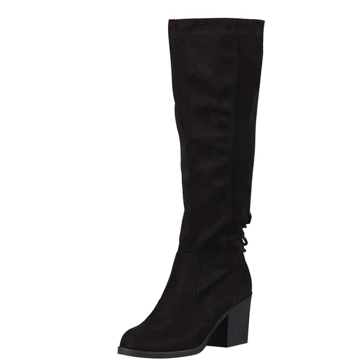 9cec87e7bac Amazon.com | BAMBOO Womens Round Toe Chunky Med High Heel Lace Up ...