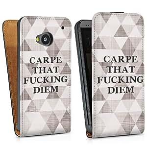 Diseño para HTC One M7 DesignTasche Downflip black - Carpe that fucking diem