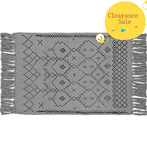 USTIDE 100% Cotton Handwoven Kilim Rug with Tassel Fringe, Grey Geometric Handmade Runner, 60cmX90cm
